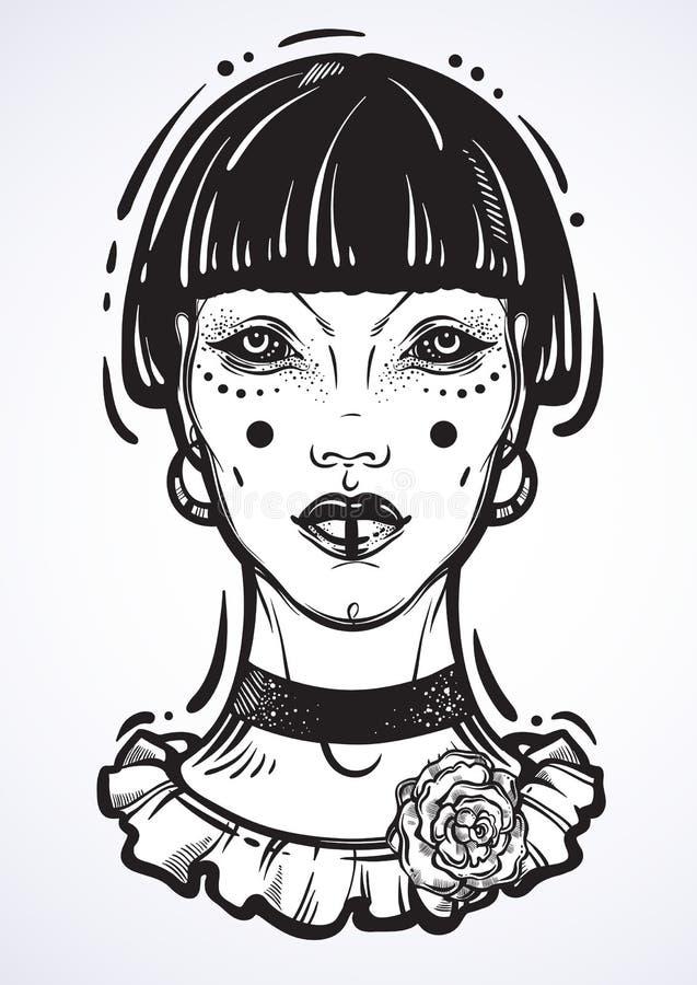一个神秘的哥特式女孩的Illusatration没有眼睛的 在线性样式的高详细的传染媒介艺术品被隔绝的 美丽的巫婆 库存例证