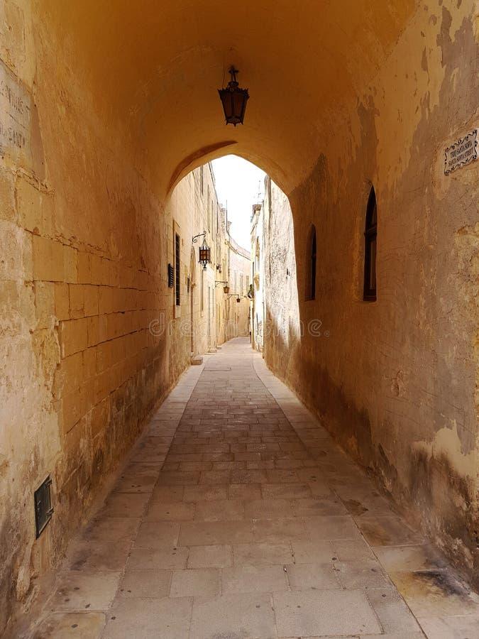 一个离开的胡同在姆迪纳马耳他 免版税图库摄影