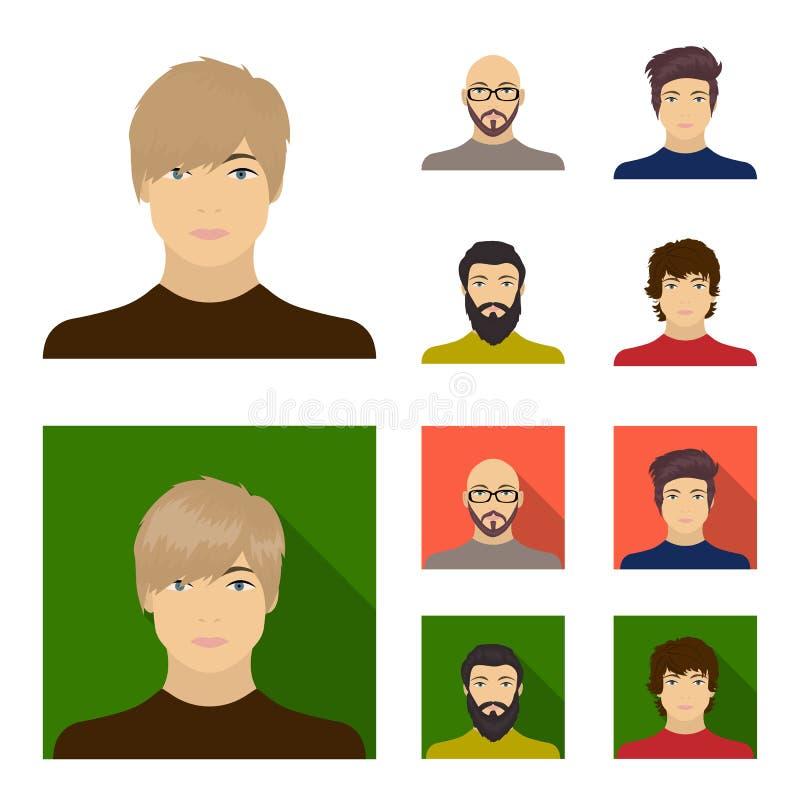 一个秃头人的面孔戴眼镜的和胡子,一个有胡子的人,一个人的出现有发型的 面孔和 皇族释放例证
