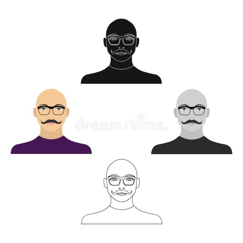 一个秃头人的面孔有一根髭的在玻璃 面孔和出现唯一象在动画片,黑样式传染媒介标志 向量例证