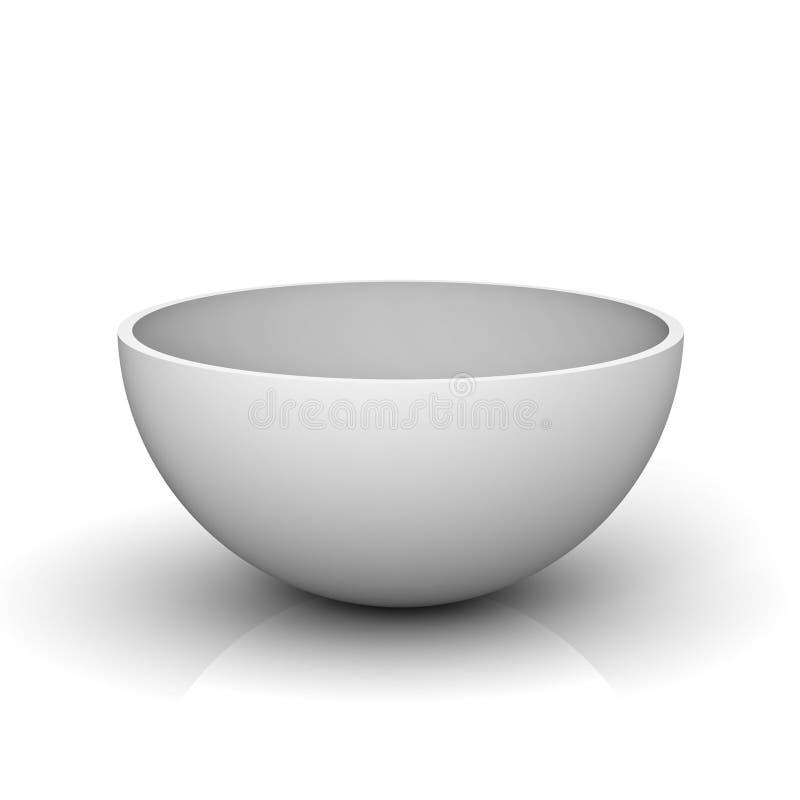 一个空心球形或白色碗的空的一半 皇族释放例证