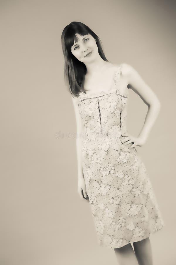 一个空白背景的女孩 图库摄影