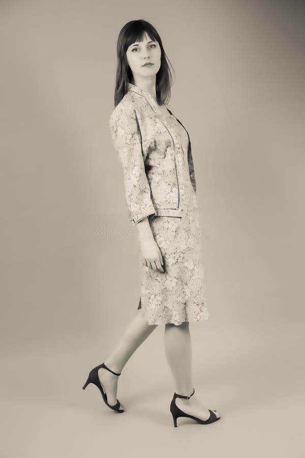 一个空白背景的女孩 免版税图库摄影