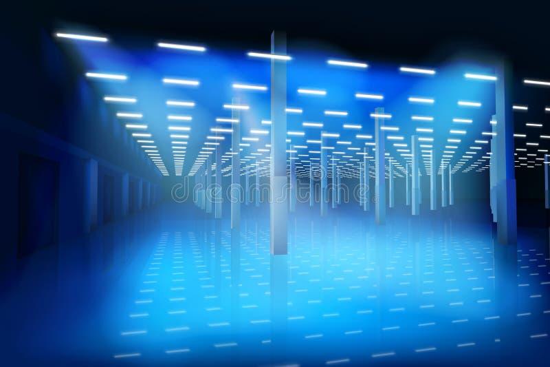 一个空的工厂大厅 也corel凹道例证向量 库存例证