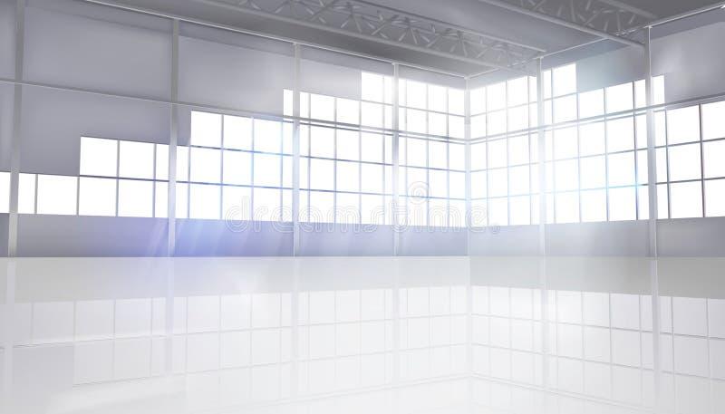 一个空的工厂大厅 也corel凹道例证向量 向量例证