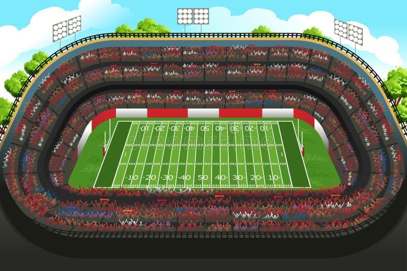 一个空的橄榄球体育场的背景 皇族释放例证