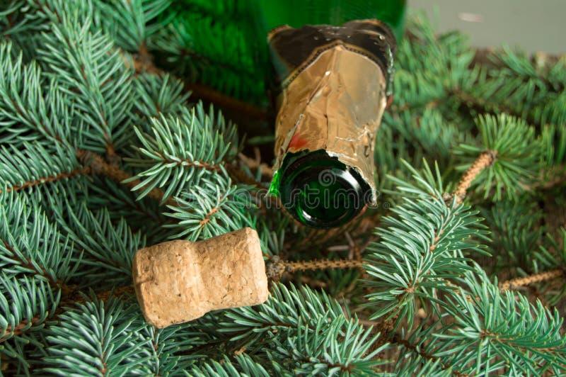 一个空的瓶香槟和黄柏说谎在云杉的分支的,紧跟在瓶后面的焦点,圣诞节背景 库存照片