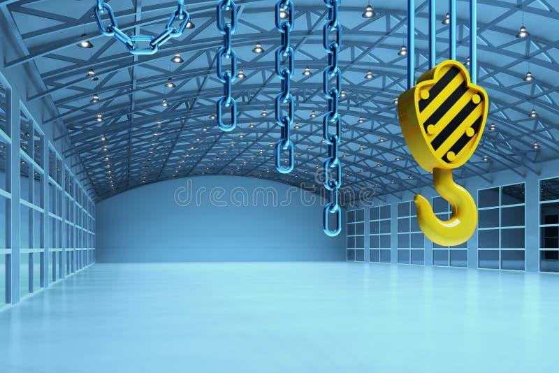 一个空的仓库大厦的内部,货物发货产业概念 皇族释放例证