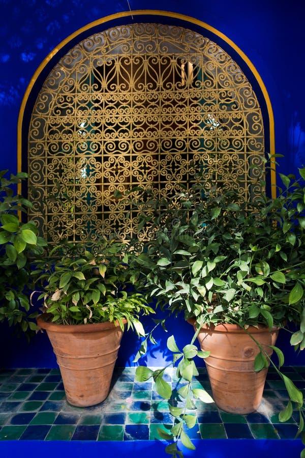 一个窗口的建筑细节与东方篱芭的和在日落的花盆在Majorelle从事园艺,马拉喀什,摩洛哥 库存图片