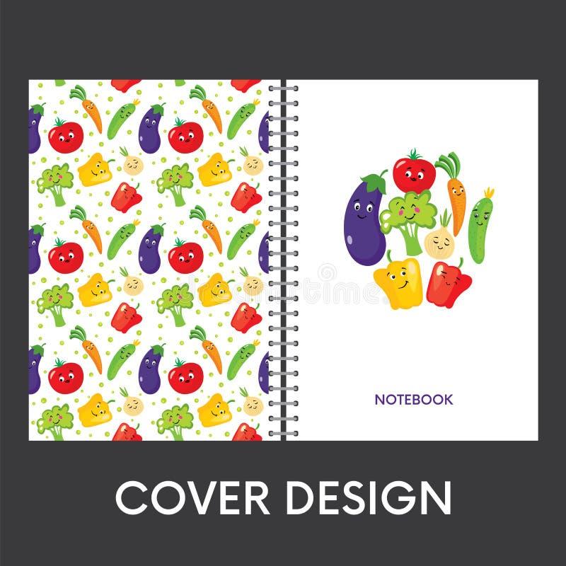 一个笔记本的现成的盖子设计有五颜六色的菜的 也corel凹道例证向量 滑稽的胡椒,蕃茄,黄瓜,茄子, o 皇族释放例证