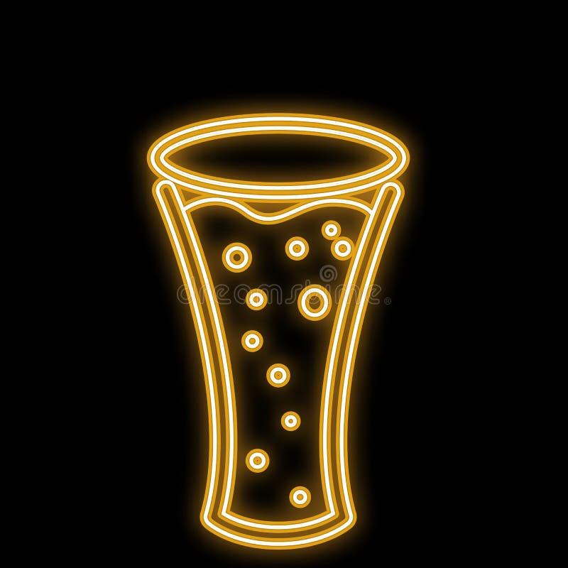 一个简单的摘要霓虹明亮的发光的发光的黄色象,酒吧的一块牌从一个啤酒杯用与泡影的工艺啤酒 皇族释放例证