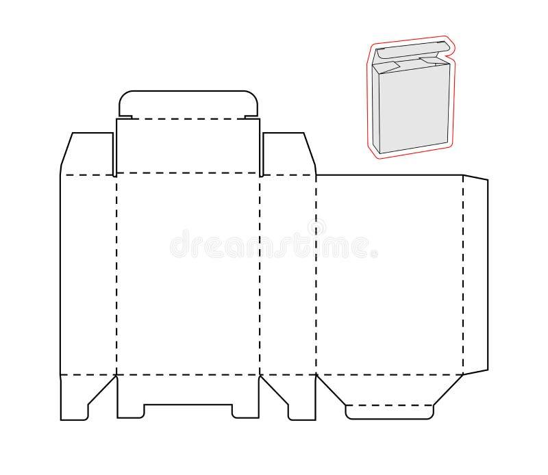 一个简单的箱子的模板 被删去的纸或纸板 库存例证