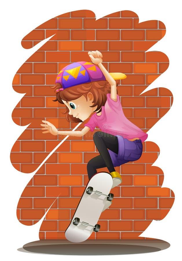 一个精力充沛的小女孩溜冰板运动 皇族释放例证