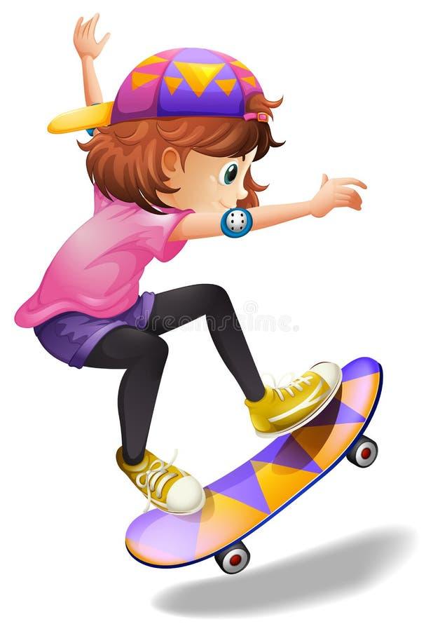 一个精力充沛的少妇溜冰板运动 向量例证