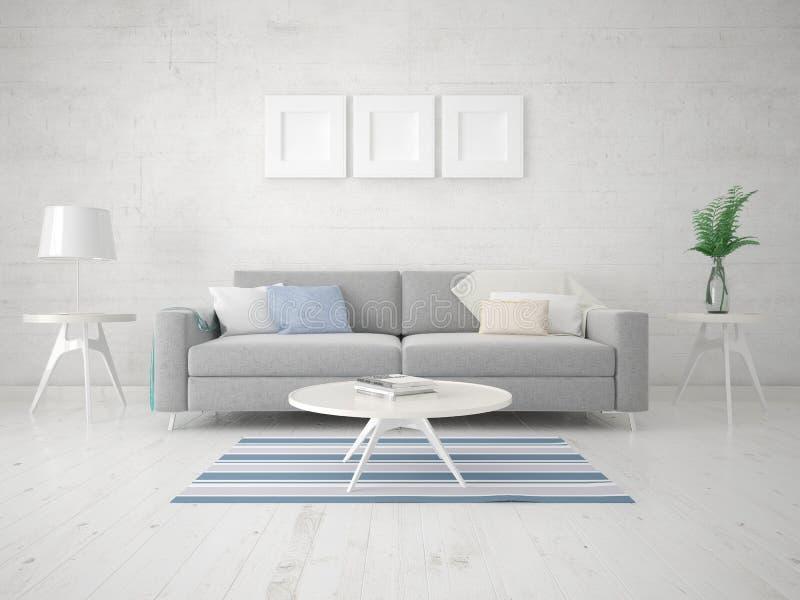 一个紧凑客厅的嘲笑有一个时髦的紧凑沙发的 库存例证