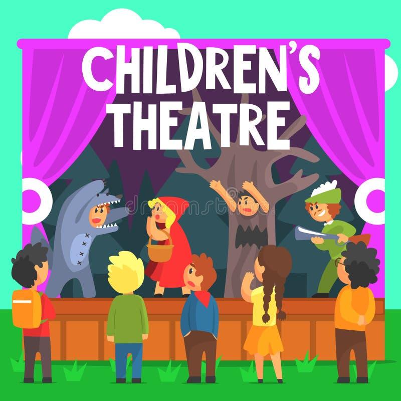 一个红色敞篷童话的非职业儿童剧院表演 皇族释放例证