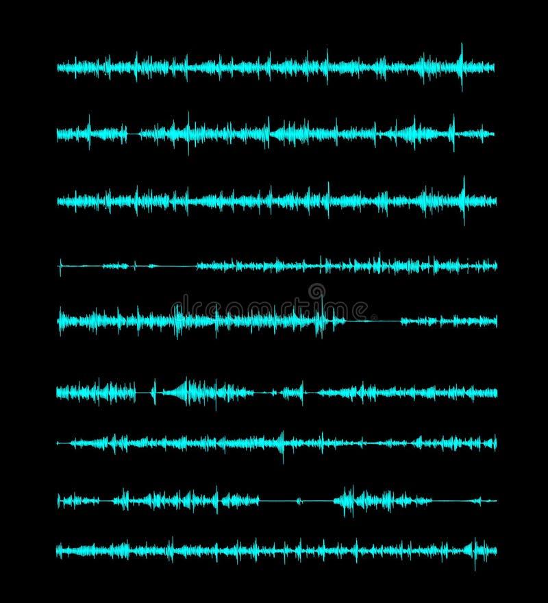 一个线性形式的声波在歌曲或合理的消息,信件的 在黑背景的传染媒介例证 皇族释放例证