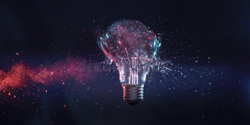 一个细丝电电灯泡的爆炸在冲击的时刻 免版税库存照片