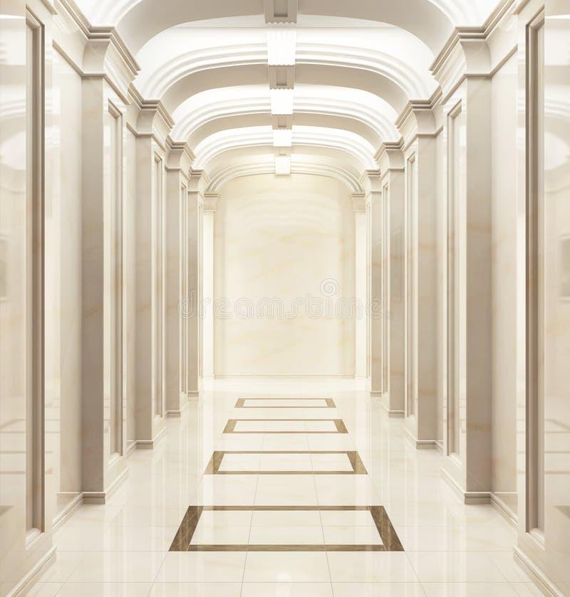 一个经典样式的大走廊 免版税库存图片