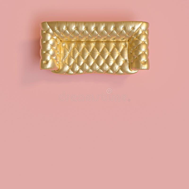 一个经典金色装缨球沙发的顶视图在桃红色背景的 向量例证