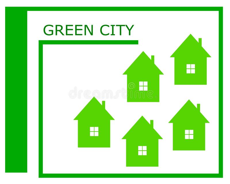 一个绿色城市商标的传染媒介图画 库存例证