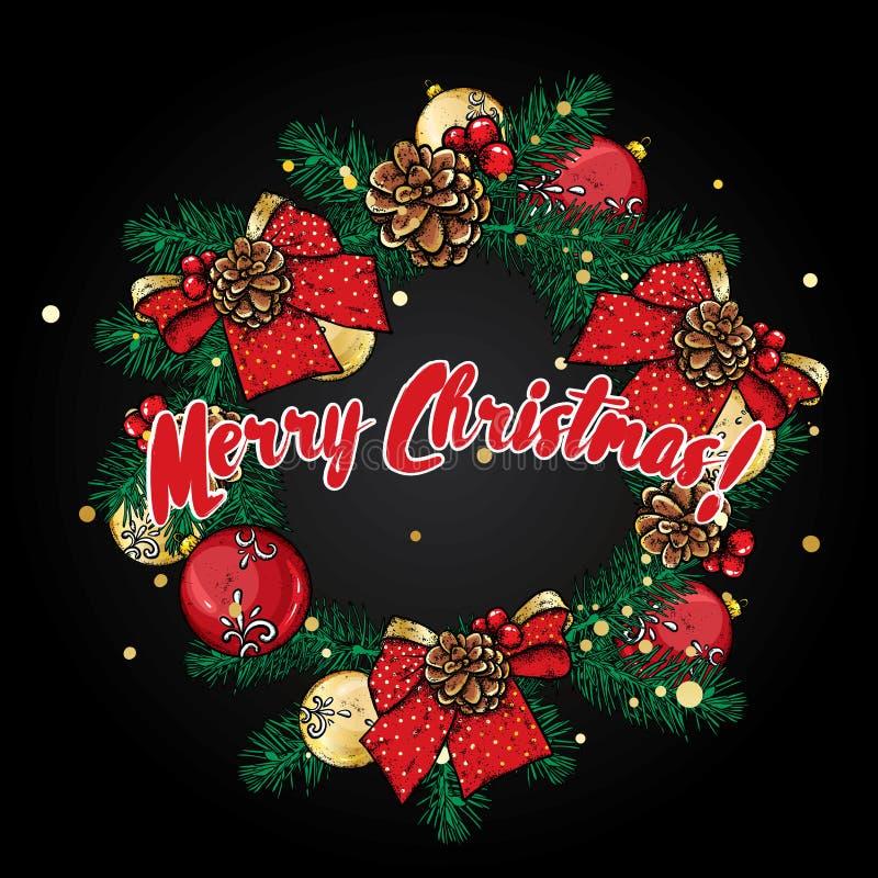 一个美丽的圣诞节花圈由冷杉分支做成,用球、弓和锥体装饰 也corel凹道例证向量 向量例证