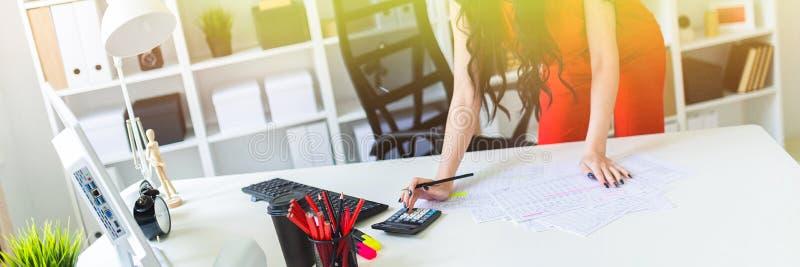 一个美丽的女孩在办公桌附近站立 女孩与文件、计算器和计算机一起使用 免版税库存照片