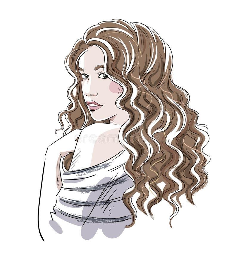 一个美丽的女孩的剪影有卷发的 方式例证