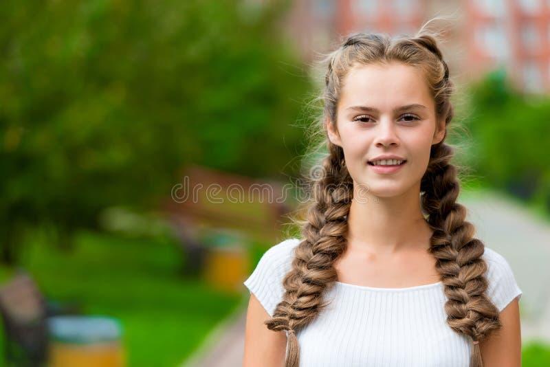 一个美丽的女孩的水平的画象有两条辫子的 库存照片