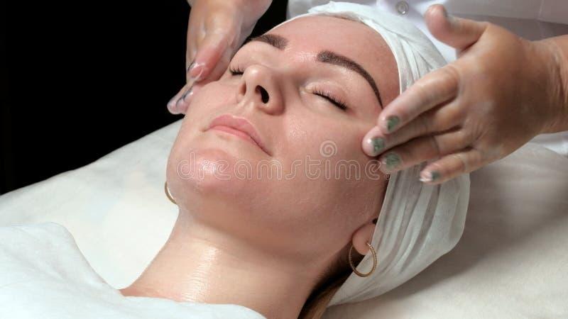 一个美丽的女孩的画象一个做法的在美容院 美容师的手按摩面孔并且申请cleansi 库存照片