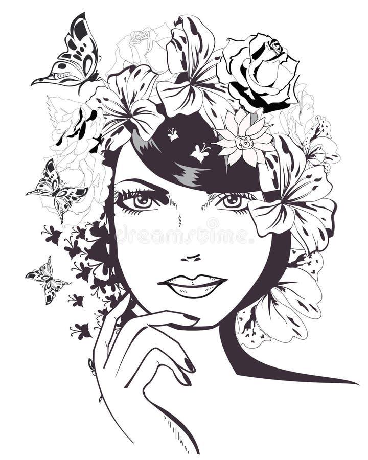 一个美丽的女孩的面孔 向量例证