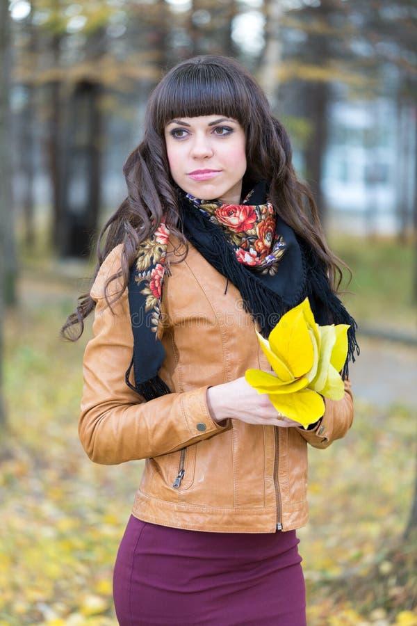 一个美丽的女孩的画象在秋天森林里 免版税库存照片