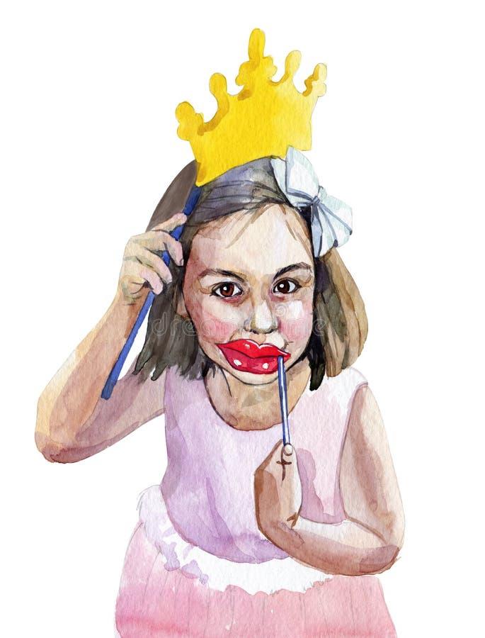 一个美丽的小女孩的手拉的水彩剪影一身庄重装束的与一个假冠、嘴唇,髭和巨大 向量例证