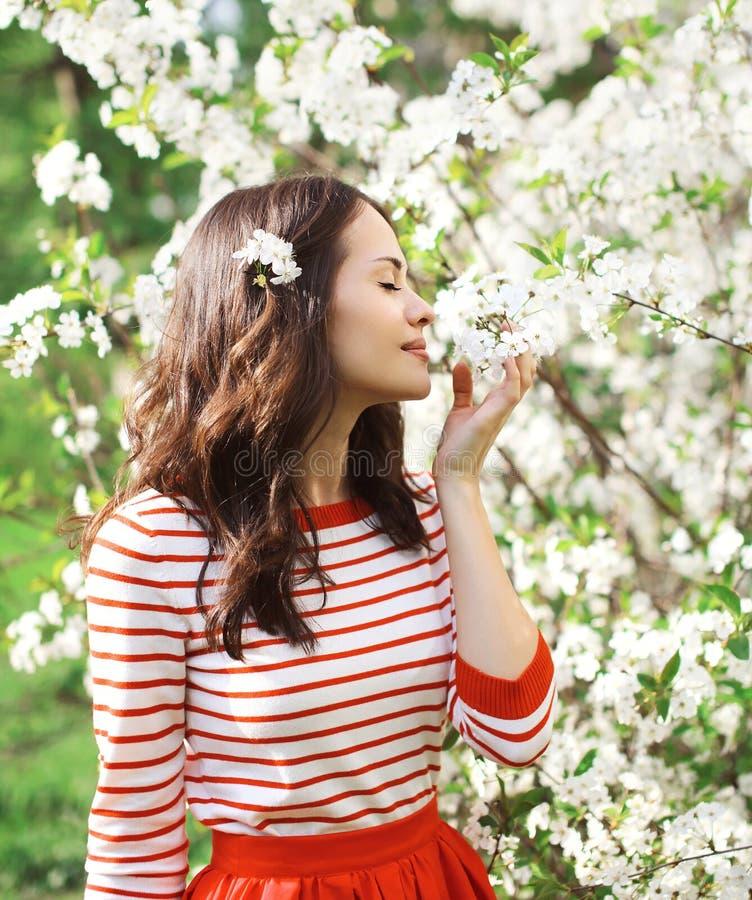 一个美丽的少妇的画象在一个开花的春天庭院里 免版税库存照片