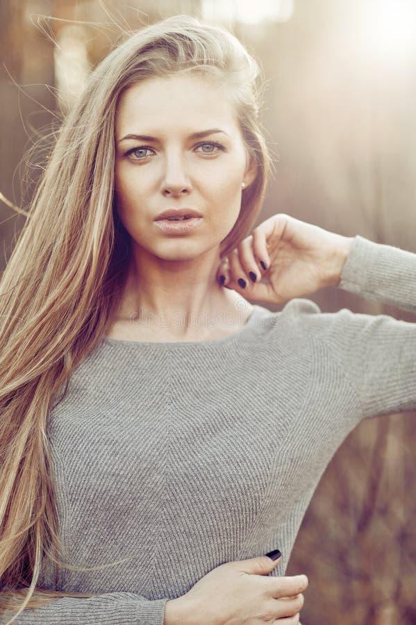 一个美丽的少妇的画象有完善的皮肤的-特写镜头 免版税库存图片