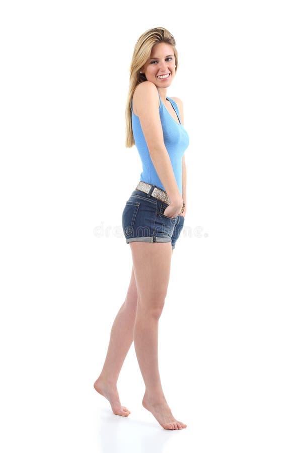 一个美丽的少年女孩的充分的身体画象 免版税图库摄影