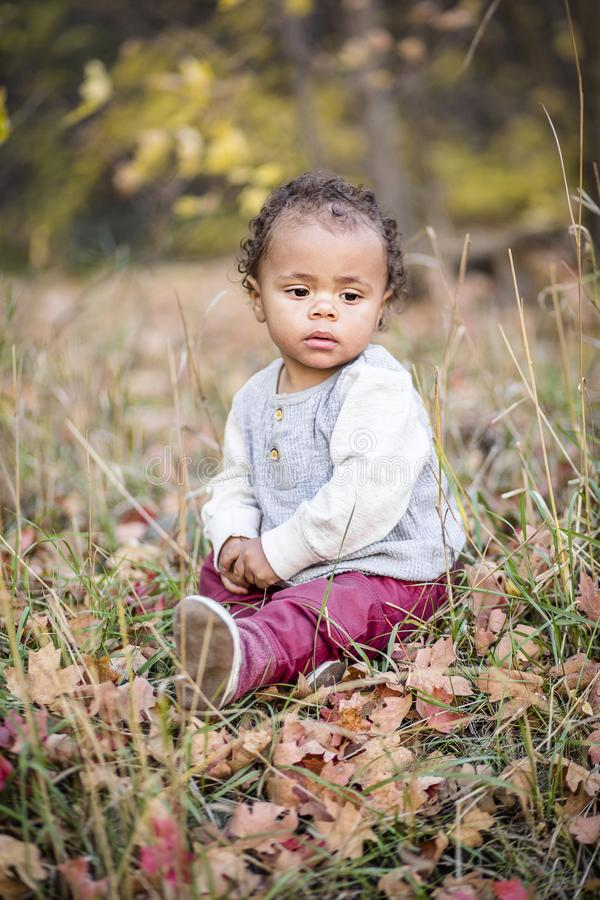 一个美丽的平静的混合的族种小男孩的室外画象 库存图片