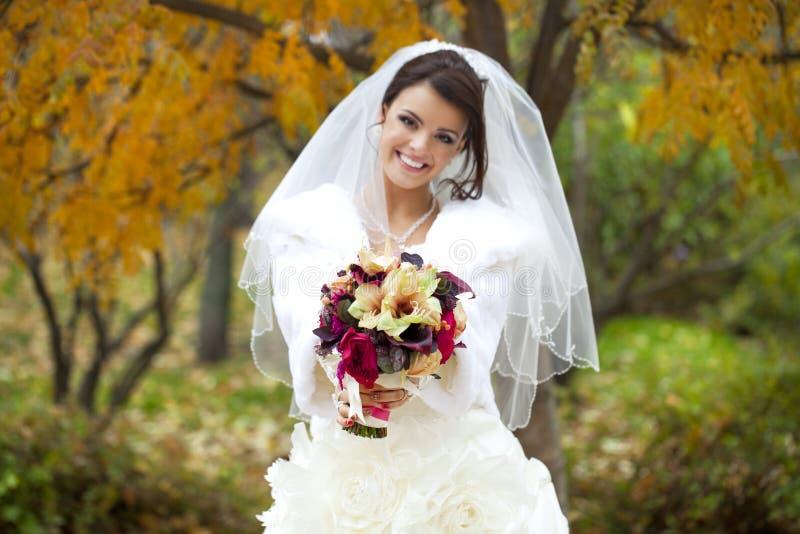 一个美丽的微笑的新娘的画象 库存图片