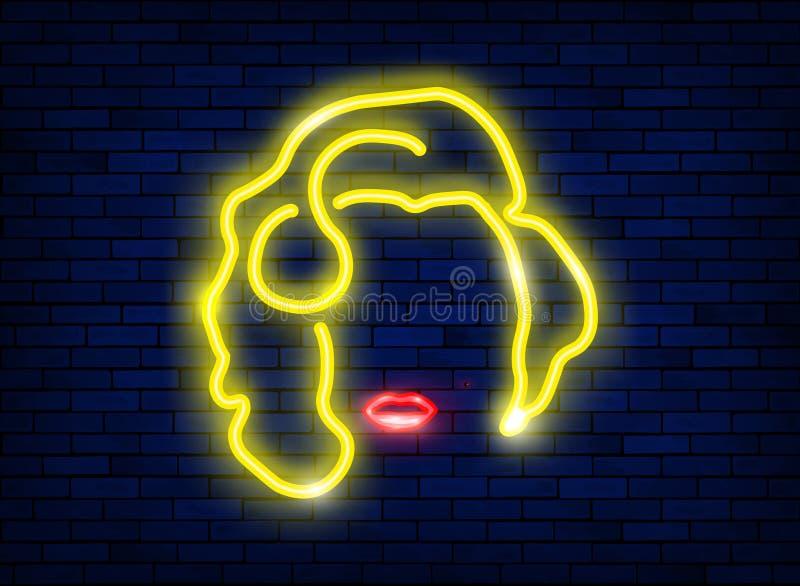 一个美丽的性感的白肤金发的女孩的霓虹剪影有红色嘴唇的 一名歌剧女主角妇女的被点燃的标志有一个最低纲领派样式的 明亮的夜 皇族释放例证