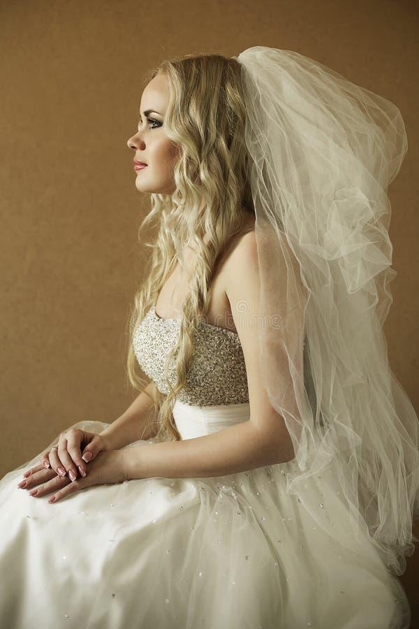 一个美丽的白肤金发的新娘的画象在木背景的 库存图片