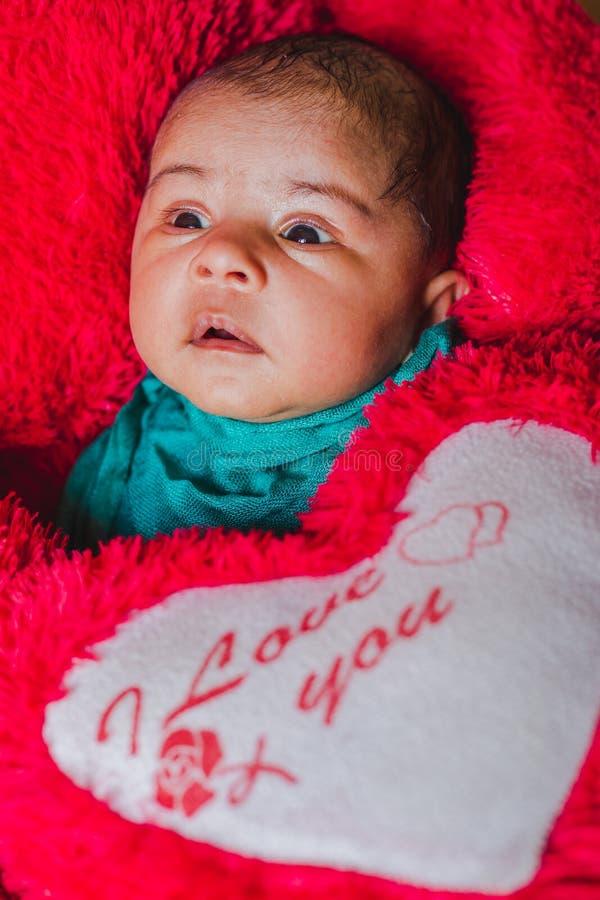 一个美丽的睡觉的新出生的婴孩的特写镜头画象 免版税库存照片