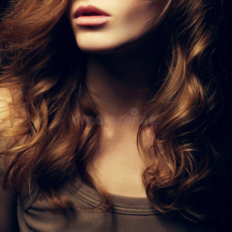 一个美丽的红发女孩的画象 图库摄影