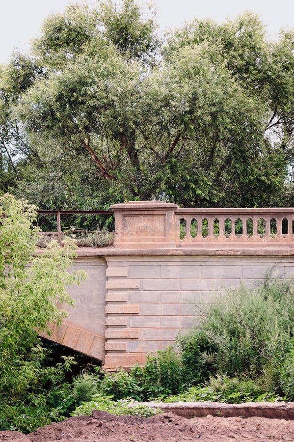 一个美丽的老石墙的片段有曲拱的在草丛林  库存照片