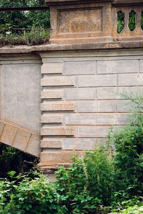 一个美丽的老石墙的片段有曲拱的在草丛林  免版税图库摄影