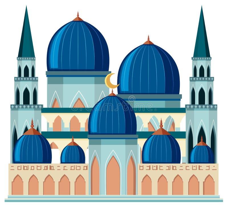一个美丽的蓝色清真寺 库存例证