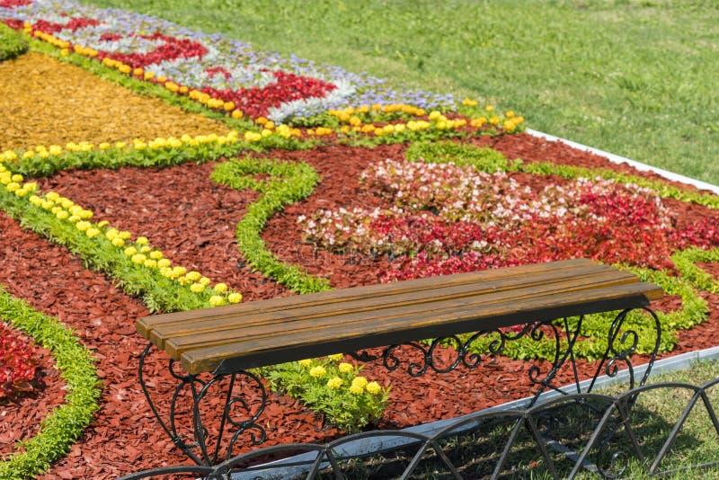 一个美丽的风景庭院的风景视图有新近地被割的草坪和花圃的绽放的 在美丽的花附近的长凳 免版税库存图片