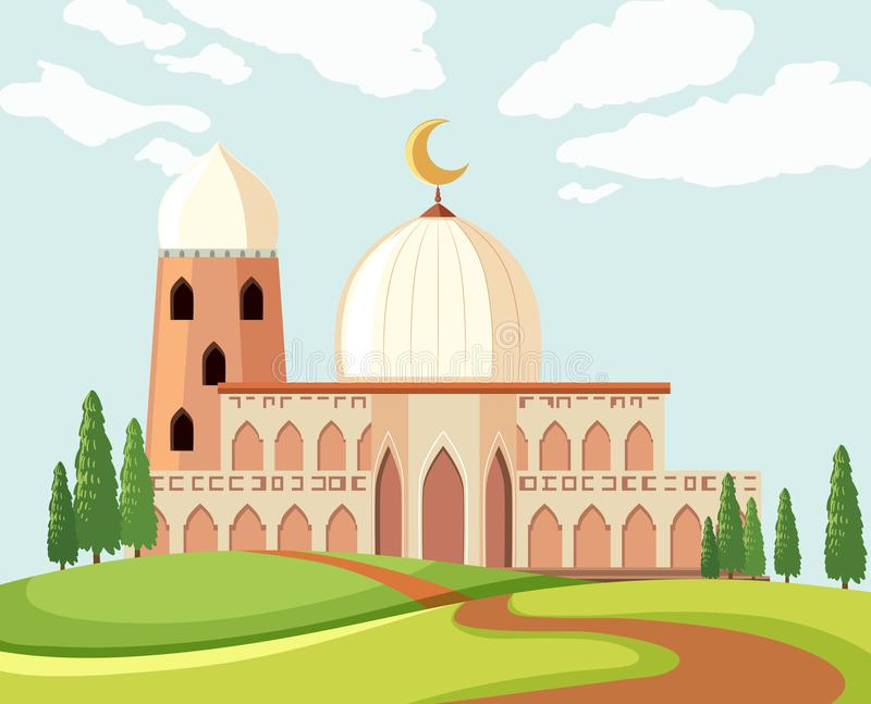 一个美好的清真寺风景 库存例证