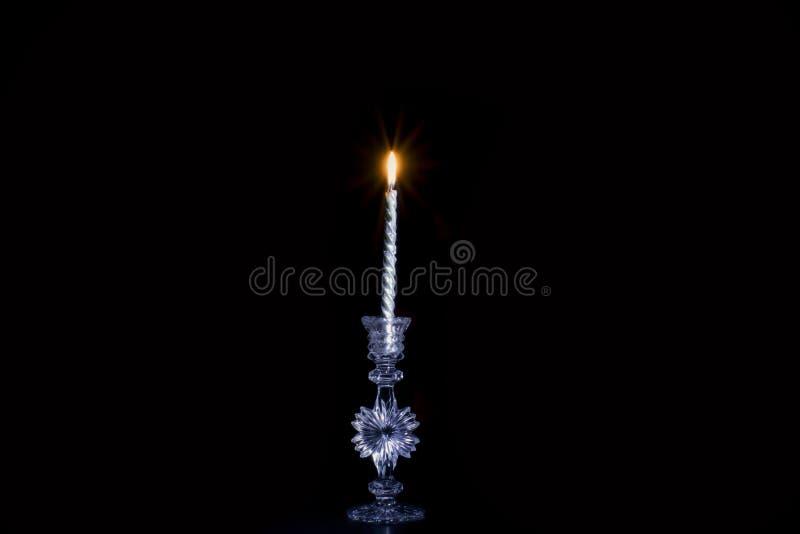 一个美好的银色蜡烛 图库摄影