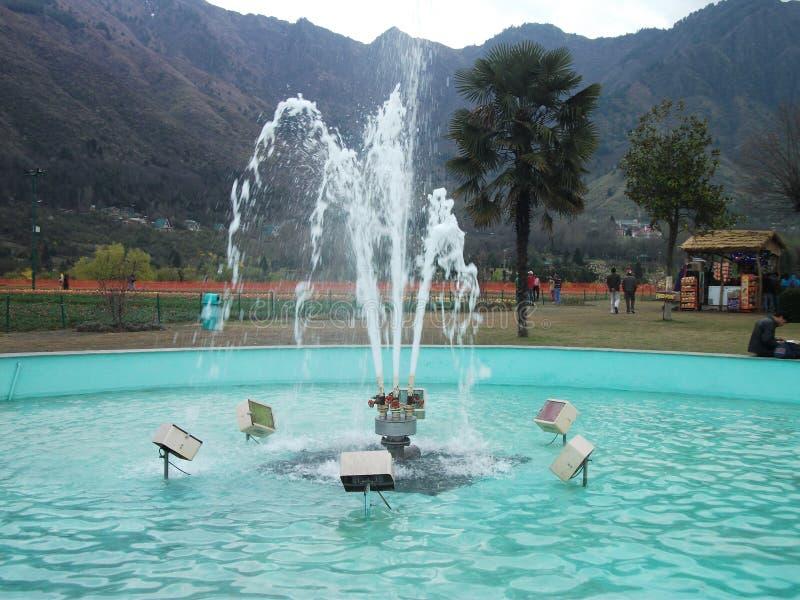 一个美妙地被夺取的喷泉在克什米尔,印度 库存图片