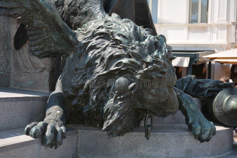 一个翼狮子雕象的细节在大运河,意大利的 免版税库存照片